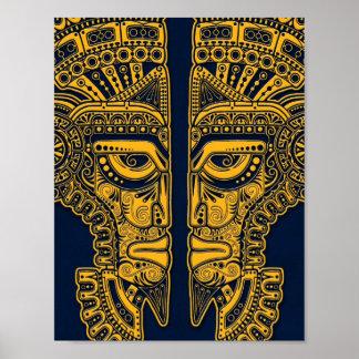 Yellow Mayan Twins Mask Illusion on Blue Poster
