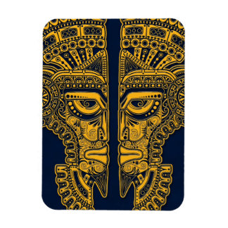 Yellow Mayan Twins Mask Illusion on Blue Rectangle Magnets