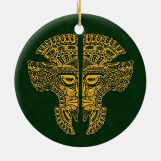 Yellow Mayan Twins Mask Illusion on Green Double-Sided Ceramic Round Christmas Ornament