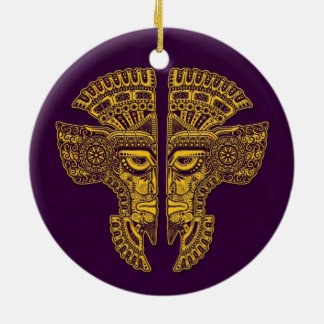 Yellow Mayan Twins Mask Illusion on Purple Double-Sided Ceramic Round Christmas Ornament