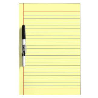 yellow medium lined dry erase board