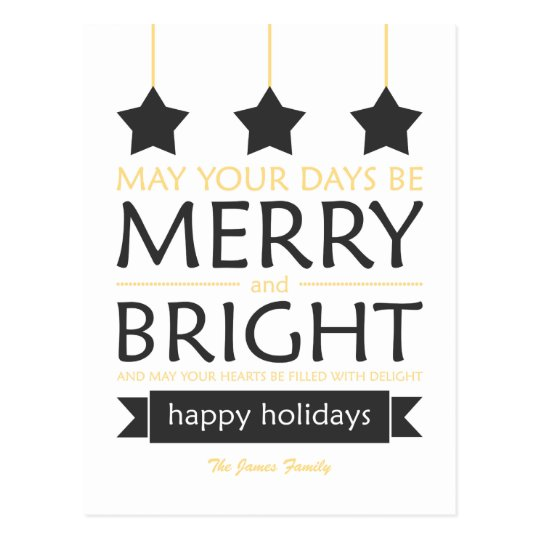 Yellow Merry and Bright Stars Holiday Postcard