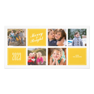 Yellow Merry Bright 5 Collage Photo Card