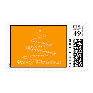 Yellow Merry Christmas Postage Stamp