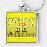 Yellow Metal Tape Measure Keychain