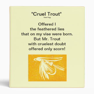 """Yellow Midge-Cruel Trout"" Fly Fishing Journal 3 Ring Binder"