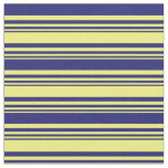 [ Thumbnail: Yellow & Midnight Blue Colored Pattern Fabric ]