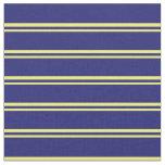 [ Thumbnail: Yellow & Midnight Blue Lines Pattern Fabric ]