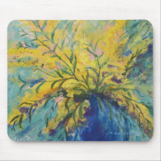 Yellow Mimosa Floral Mouse Mat