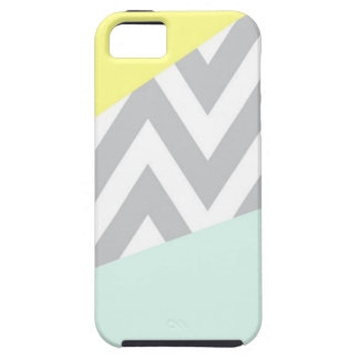 Yellow & Mint Color Block Chevron iPhone 5 Cover