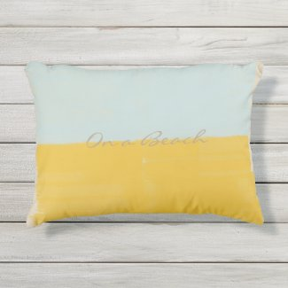 Yellow Mint Dream  On a Beach Outdoor Pillow