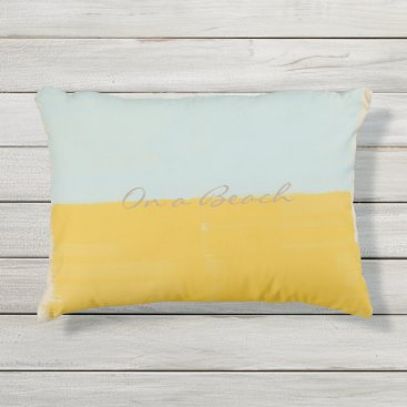 Beach Themed Yellow Mint Dream  On a Beach Outdoor Pillow
