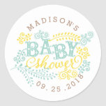 Yellow Mint Gender Neutral Cute Custom Baby Shower Classic Round Sticker