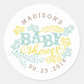 Yellow Mint Gender Neutral Cute Custom Baby Shower Classic Round Sticker