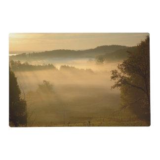 Yellow misty dawn landscape placemat