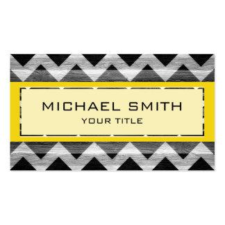 Yellow Modern Chevron Pattern Business Card Template