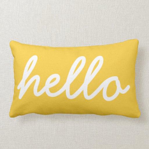 Modern Yellow Pillow : Yellow Modern Hello Throw Pillow Zazzle