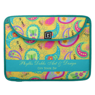 Yellow Modern Paisley Colorful Graphic Pattern MacBook Pro Sleeve