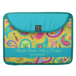 Yellow Modern Paisley Colorful Graphic Pattern Sleeves For MacBooks