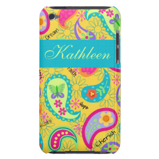 Yellow Modern Paisley Whimsy Personalized Barely There iPod Covers