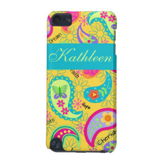 Yellow Modern Paisley Whimsy Personalized iPod Touch 5G Cover