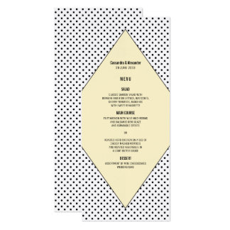 Yellow Modern Polka Dots Wedding Menu Card