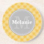 Yellow Modern Squares Pattern Grey Monogram Drink Coaster