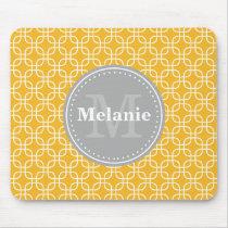 Yellow Modern Squares Pattern Grey Monogram Mouse Pad