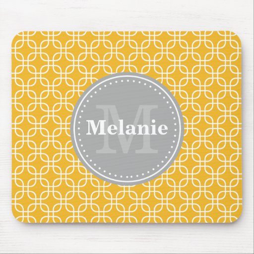 Yellow Modern Squares Pattern Grey Monogram Mouse Pad