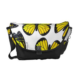 Yellow Monarch Butterfly Pattern Messenger Bags