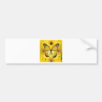 Yellow MONARCH  BUTTERFLY & Sunflower ART Bumper Sticker