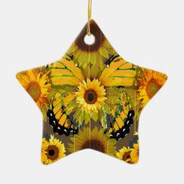 Yellow MONARCH  BUTTERFLY & Sunflower ART Ceramic Ornament