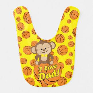 Yellow Monkey I Love Dad Basketball Bib