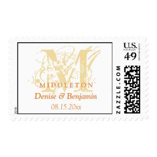 Yellow monogram antique chic custom wedding stamp
