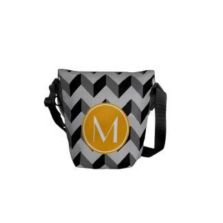 Yellow Monogram Black and Gray Chevron Pattern Bac Courier Bag