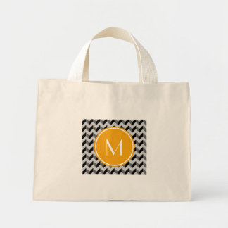 Yellow Monogram Black and Gray Chevron Pattern Bac Mini Tote Bag