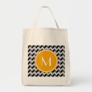 Yellow Monogram Black and Gray Chevron Pattern Bac Tote Bag