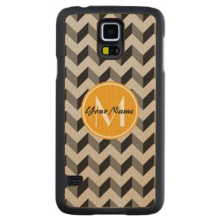 Yellow Monogram Black and Gray Chevron Pattern Carved Maple Galaxy S5 Slim Case