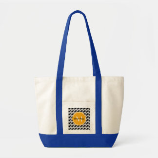 Yellow Monogram Black and Gray Chevron Pattern Tote Bag
