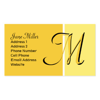 yellow monogram Double-Sided standard business cards (Pack of 100)