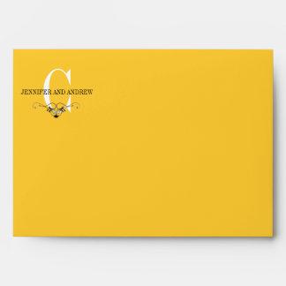 Yellow Monogram C Chandelier A7 Envelopes