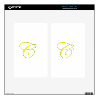 Yellow Monogram C Decal For Kindle Fire