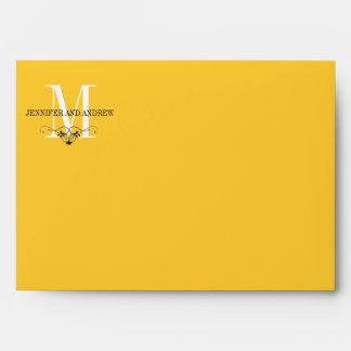 Yellow Monogram Chandelier A7 Envelopes