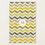 "Yellow Monogram Chevron Pattern Planner<br><div class=""desc"">Customizable yellow monogram chevron pattern planner.</div>"