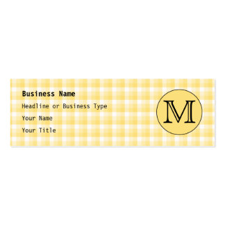 Yellow Monogram. Custom Letter and Check Pattern. Mini Business Card