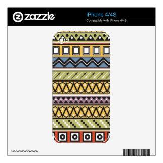 Yellow Monogram Custom Tribal Patterns Skins For The iPhone 4
