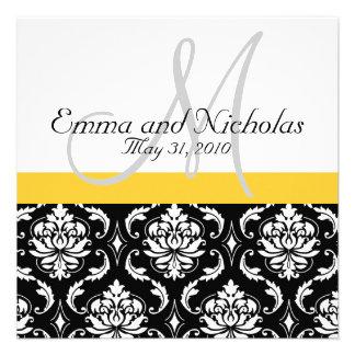 Yellow Monogram Damask Wedding Invitation