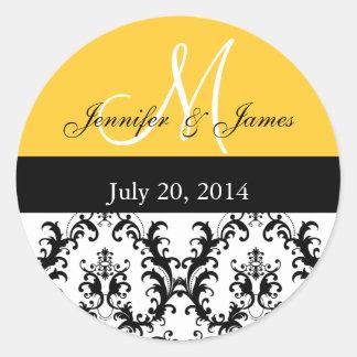 Yellow Monogram Damask Wedding Stickers