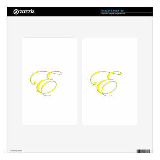 Yellow Monogram E Decal For Kindle Fire