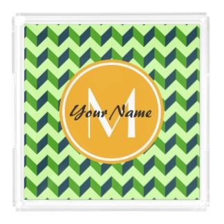 Chevron Square Acrylic Tray Yellow Monogram Green Chevron